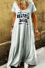 Casual Print Round Short Sleeves Maxi Dress