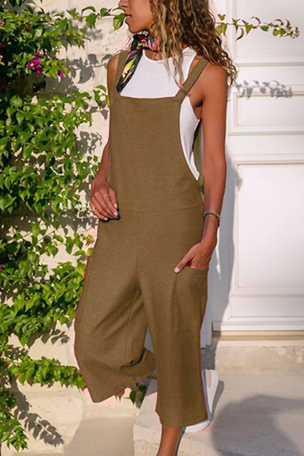 Casual Solid Paneled Pockets Wide Leg Jumpsuit