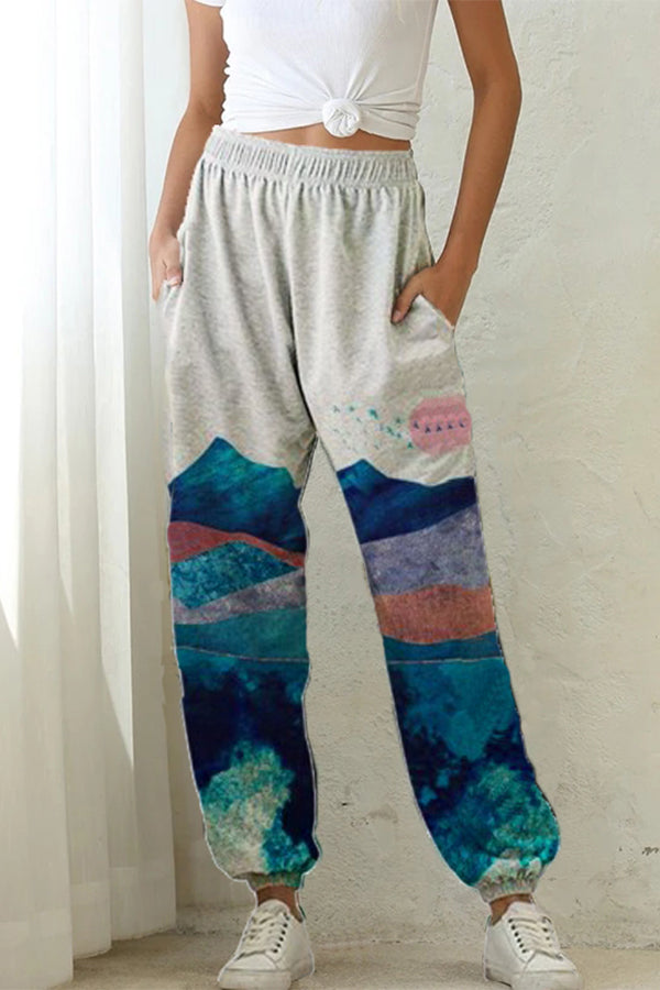 Casual Gradient Mountain Sun Nature Landscape Print Foot-binding Pants