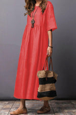 Solid Crew Neck Half Sleeves Maxi Dress
