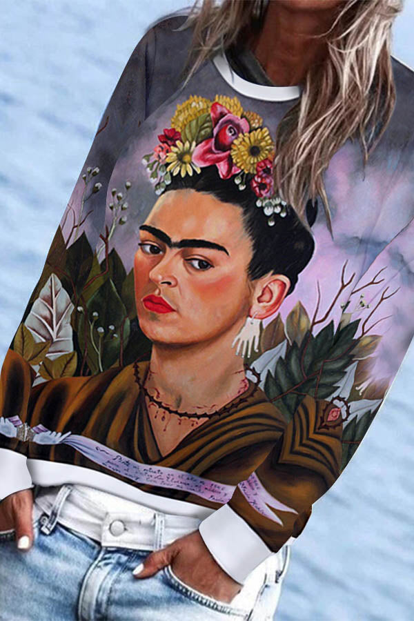 Vintage Gradient Oil Painting Frida Kahlo In The Grass Print Sweatshirt