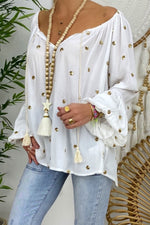 Casual V Neck Print Lantern Sleeve Blouse