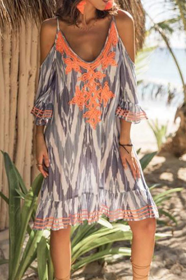 Gradient Cold Shoulder Print Midi Dress