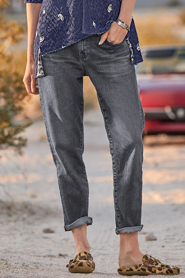 Casual Solid Paneled Side Pockets Harem Jeans
