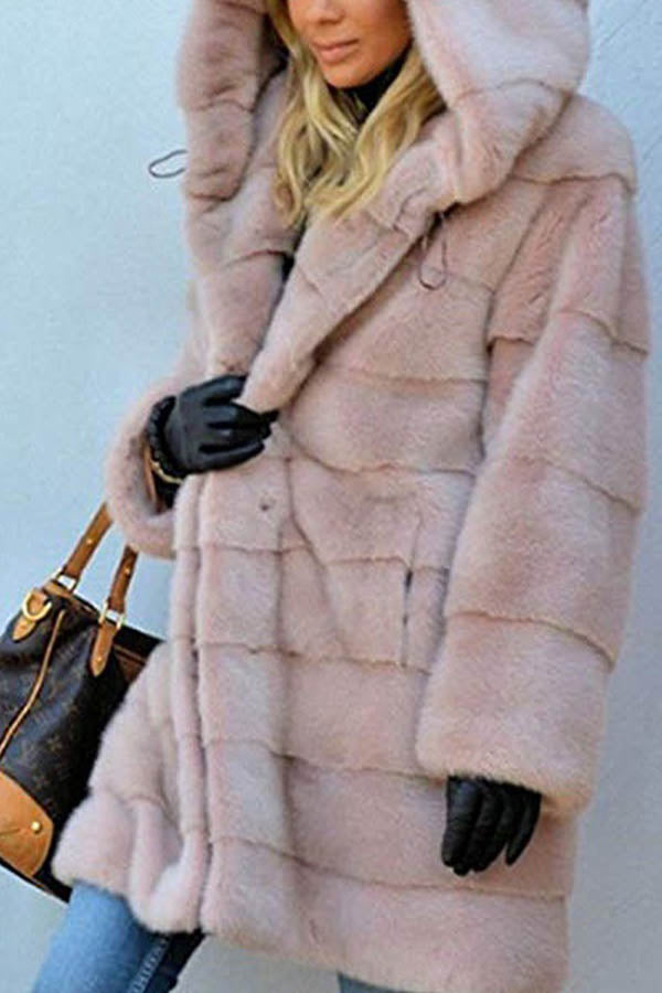 Women Temperament Solid Fuzzy Hooded Long Coat
