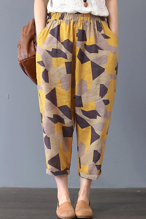 Vintage Printed Harem Cropped  Pants