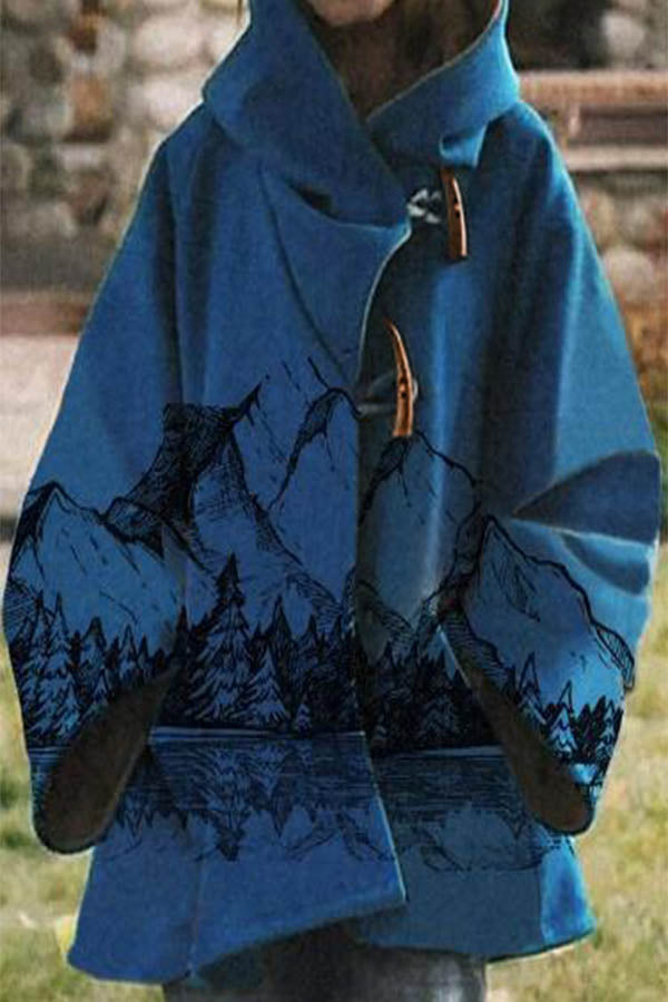 Street Nature Landscape Hand Painting Print Mountain Forest Horn Buckle Hooded Coat