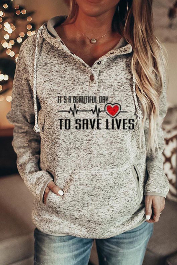 Its A Beautiful Day To Save Lifes ECG Letter Print Casual Drawstring Hoodie