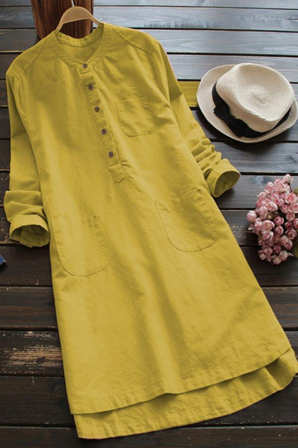 Round Neck Buttoned Casual Midi Dress