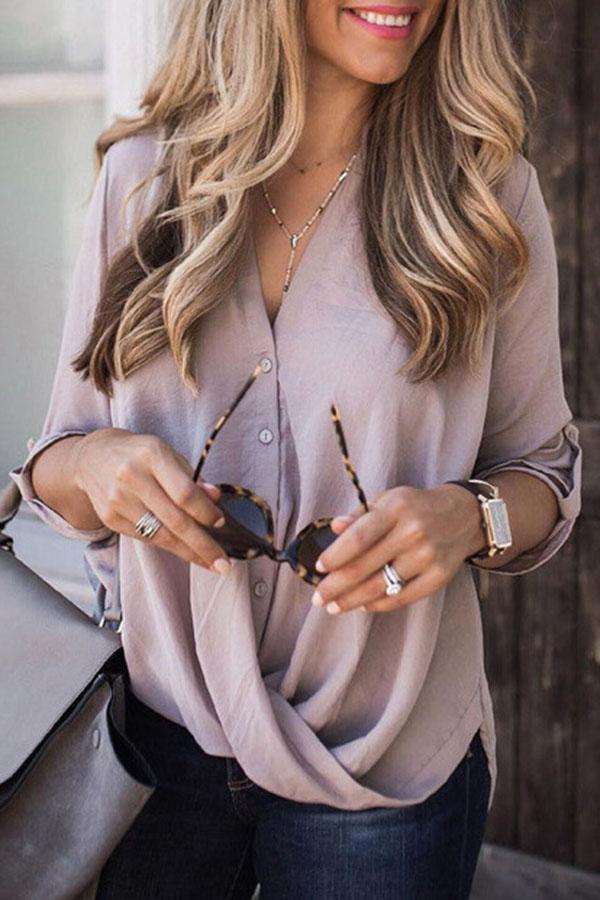 Solid V Neck Buttoned Shift Casual Blouses