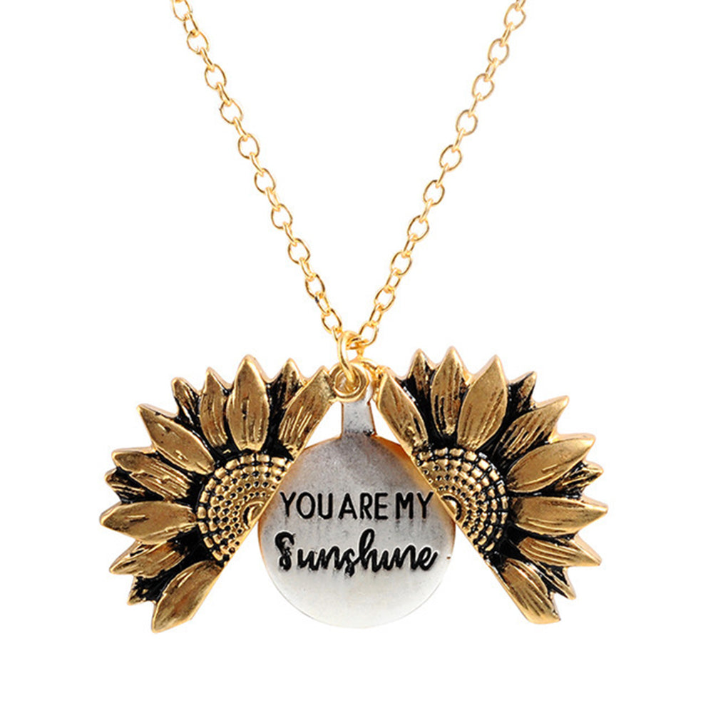 You Are My Sunshine Creative Necklaces Sunflower Decoration Openable Vintage Necklaces