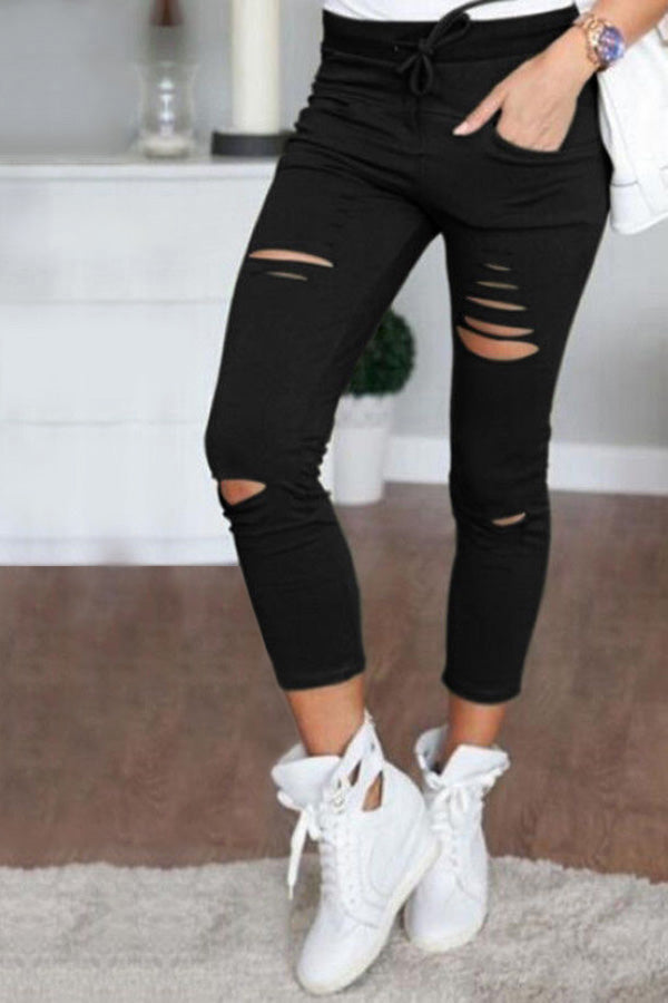 Casual Solid Hole Pocket Pants