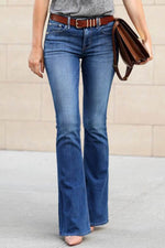 Solid Sheath Paneled Side Pockets Casual Bell-bottomed Jeans