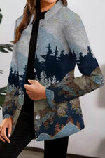 Fashion Temperament Nature Landscape Forest Gradient Jacquard Buttoned Coat