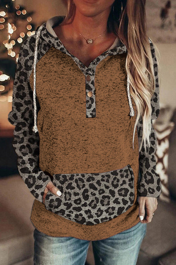 Color-block Leopard Print Paneled Pocket Buttoned Drawstring Hoodie