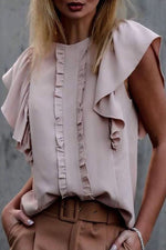 Casual Solid Short Sleeves  Chiffon Blouse