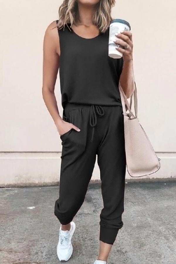 Casual Solid Self-tie Paneled Pockets Sleeveless Jumpsuit