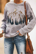 Hand Painting Nature Landscape Mountain Pine Tree Jacquard Casual T-shirt