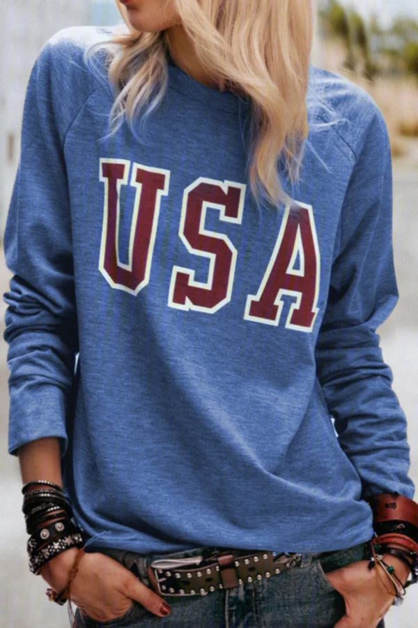 Letter Print Paneled Casual Crew Neck Long Sleeves Sweatshirt