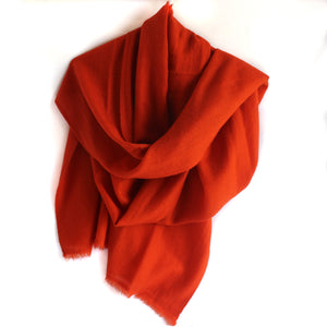 Handmade cashmere scarf/shawl burnt orange