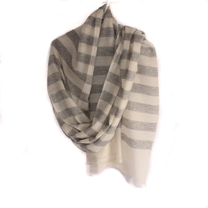 Handmade cashmere scarf/shawl light grey and white stripes