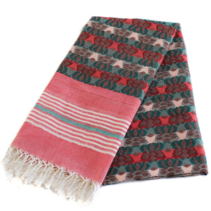 Handloom dhaka shawl Nepal pink and green