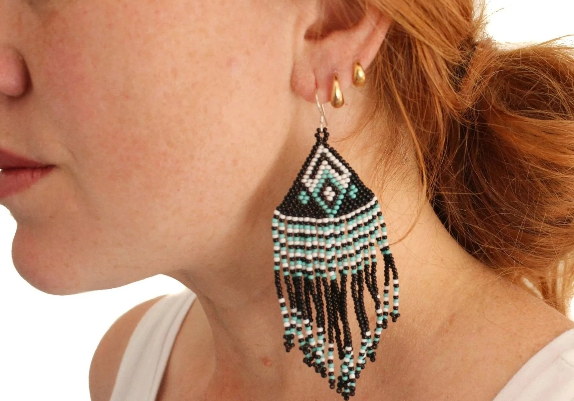 Boho bead earrings - black/turquoise