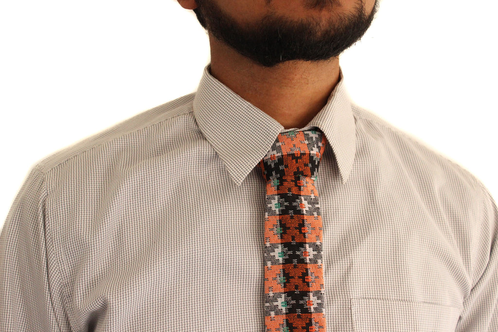 Hipster tie orange - bohemian fabric