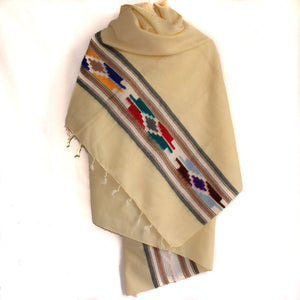Winter shawl Nepal cream tribal