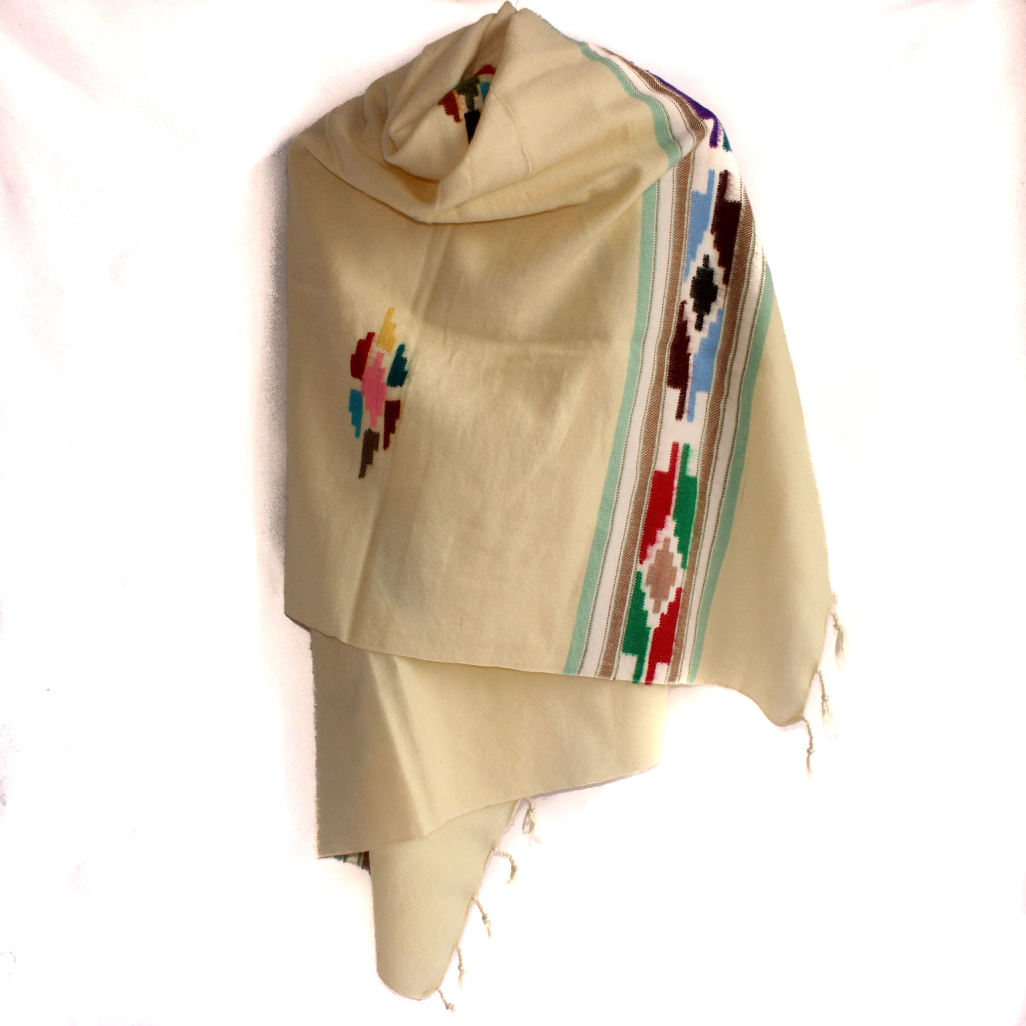 Winter shawl - Cream tribal