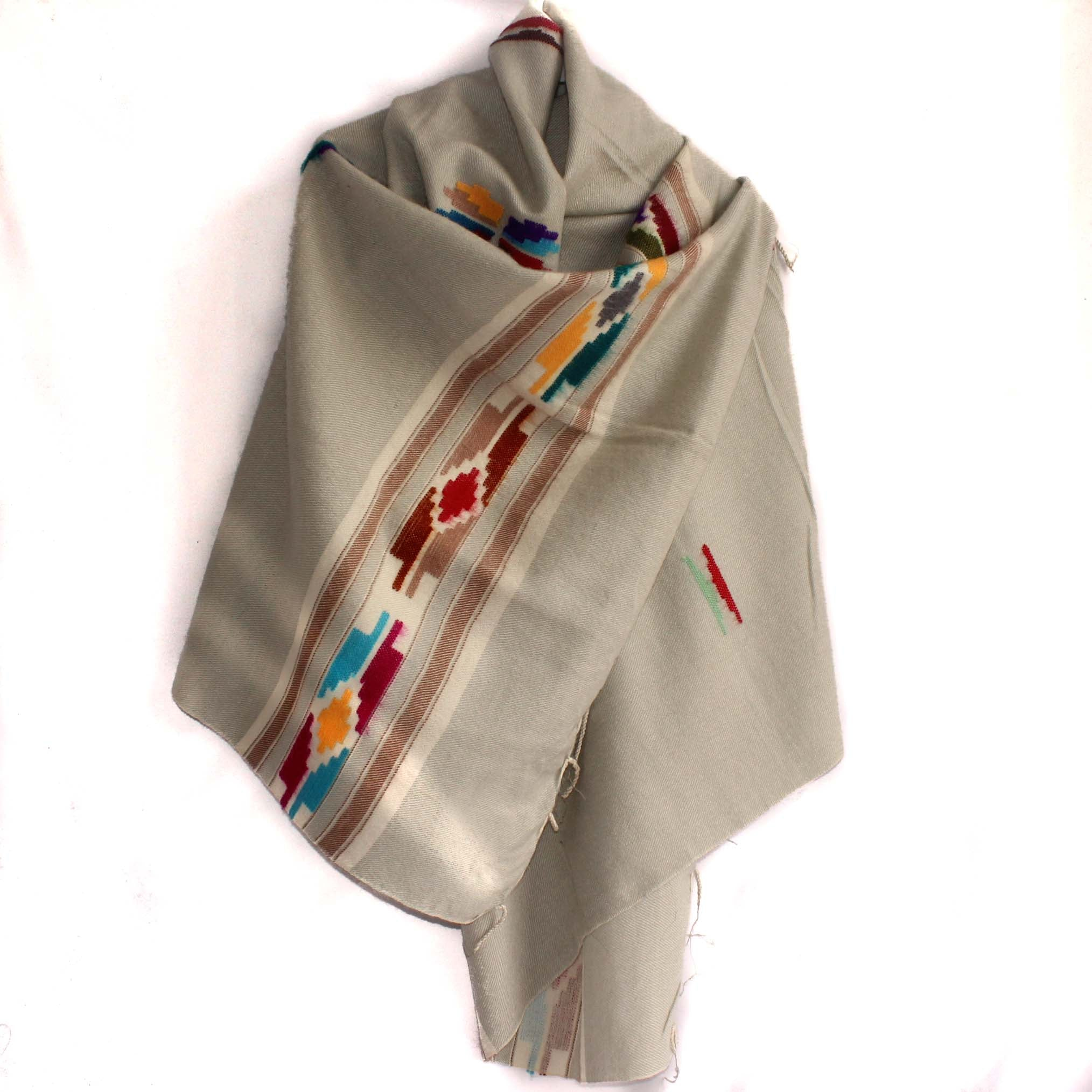 Winter shawl Nepal light grey tribal design