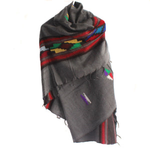 Winter shawl Nepal charcoal tribal
