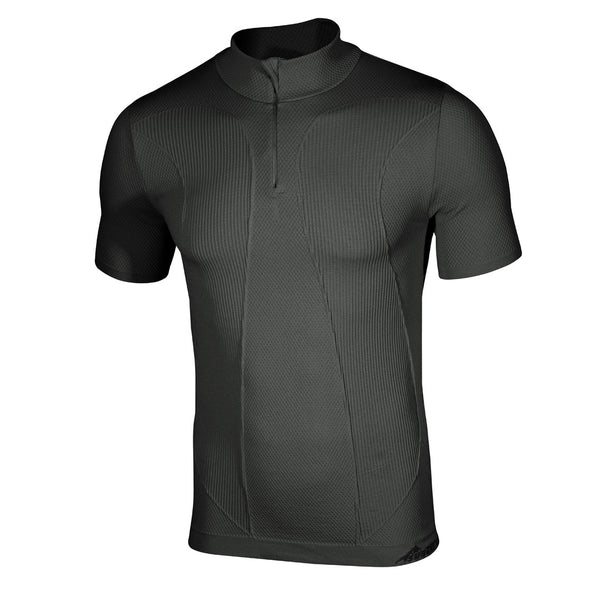 Factor 1 Plus Mens Short Sleeve Zip Neck Base Layer Top
