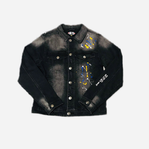 BLACK KEYS STAY LOW KEY WASH DENIM JACKET BLACK