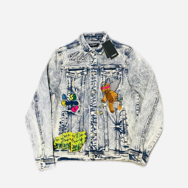 CIVILIZED MONEY BEAR DENIM JACKET BLUE