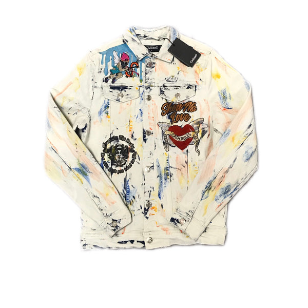 CIVILIZED SHOW NO LOVE DENIM JACKET ICE MULTI