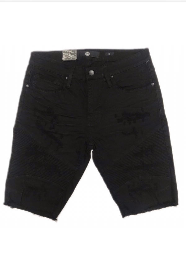 JORDAN CRAIG JET BLACK RIBBED SHORTS