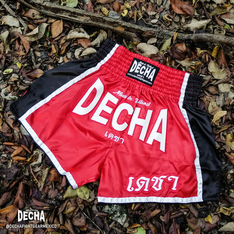 shorts muay thai decha fight rojo negro