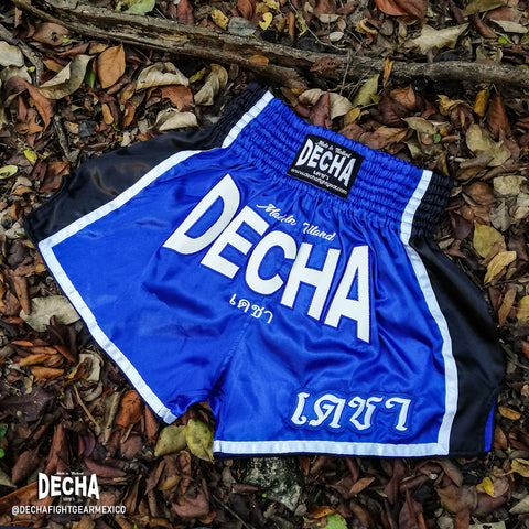 shorts muay thai decha fight azul negro