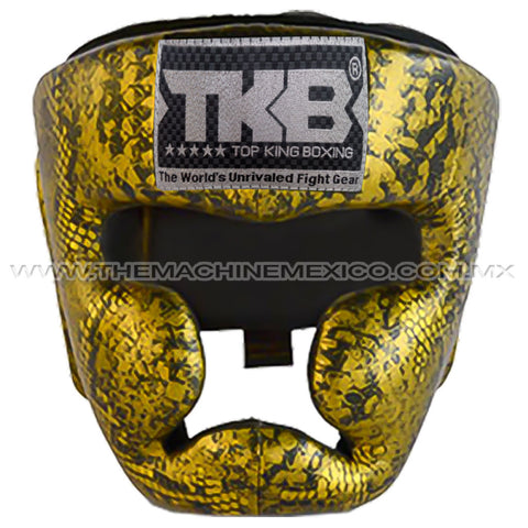 Careta Box Profesional Sparring Top King diseño pyton oro negro