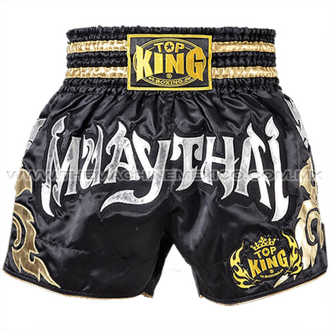 Top King Shorts Muay Thai Negro Oro
