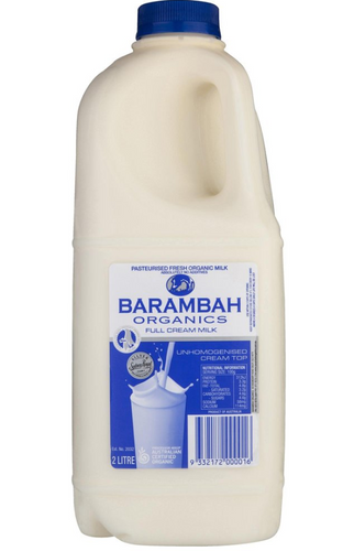 Barambah Organics FULL CREAM MILK 2litre, 1litre , 375ml