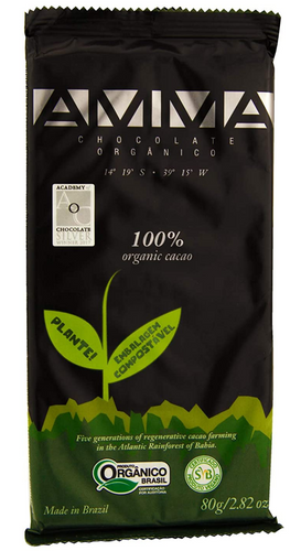 AMMA Organic Dark Chocolate - 100% Pure Cacao 80g