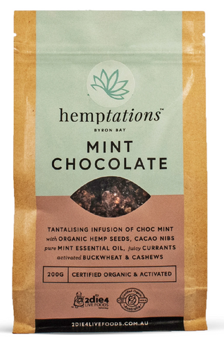 2DIE4 FOODS ACTIVATED ORGANIC HEMPTATIONS MINT CHOC 200g
