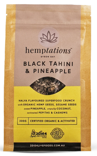 2die4 ACTIVATED ORGANIC HEMPTATIONS BLACK TAHINI & PINEAPPLE 200g