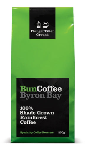 BunCoffee Byron bay 100% Shade Grown Rainforest Coffee - Espresso Ground - 250g