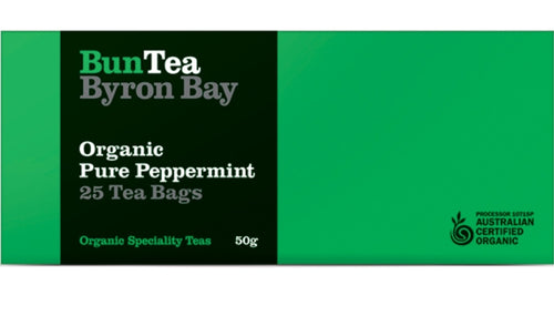 BunTea Byron Bay Organic Pure Peppermint Leaf - Tea Bags - 25 bags