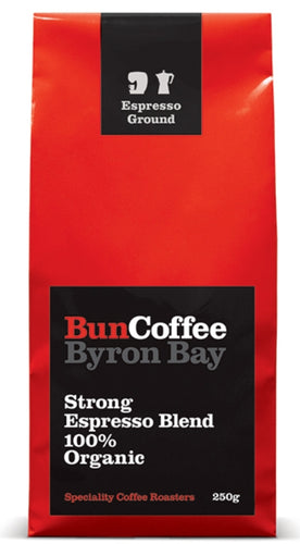 BunCoffee Strong Espresso Blend 100% Organic Coffee - Plunger - 250g