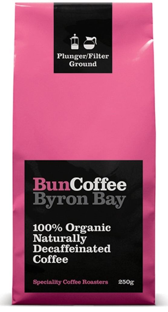 Bun Coffee Byron Bay 100% Organic Naturally Decaffeinated Coffee -  Wholebean - 250g