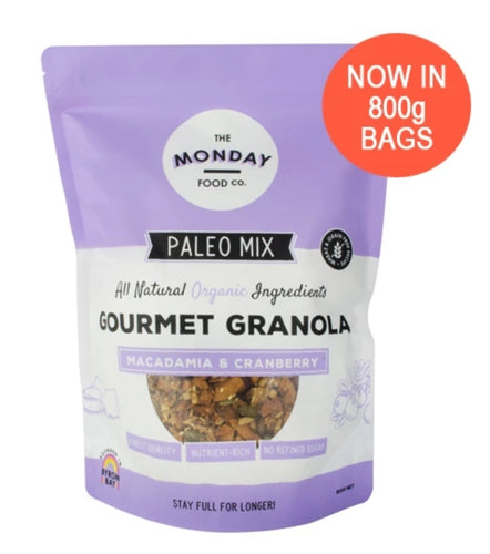 The Monday Food Co Macadamia & Cranberry - Paleo Granola 300g and 800g